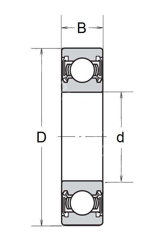 Technische Zeichnung Rillenkugellager mit Dichtscheiben 6700 2RS