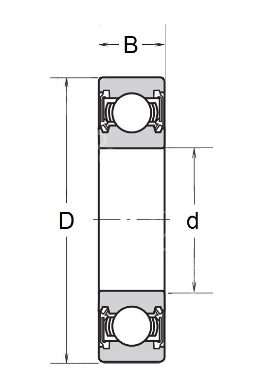 Technische Zeichnung Rillenkugellager mit Dichtscheiben 6800 2RS