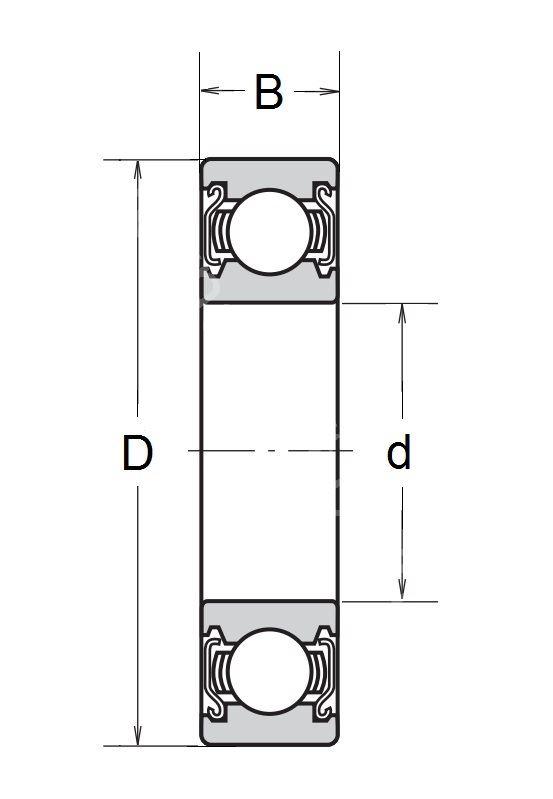 Technische Zeichnung Rillenkugellager mit Deckscheiben 6800 ZZ