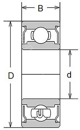 Technische Zeichnung Miniaturlager Zoll R 144 ZZ