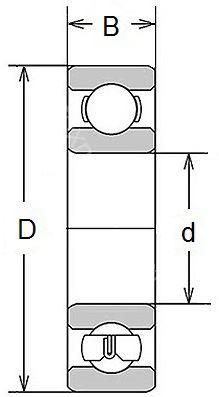Technische Zeichnung Miniaturlager Zoll R 0