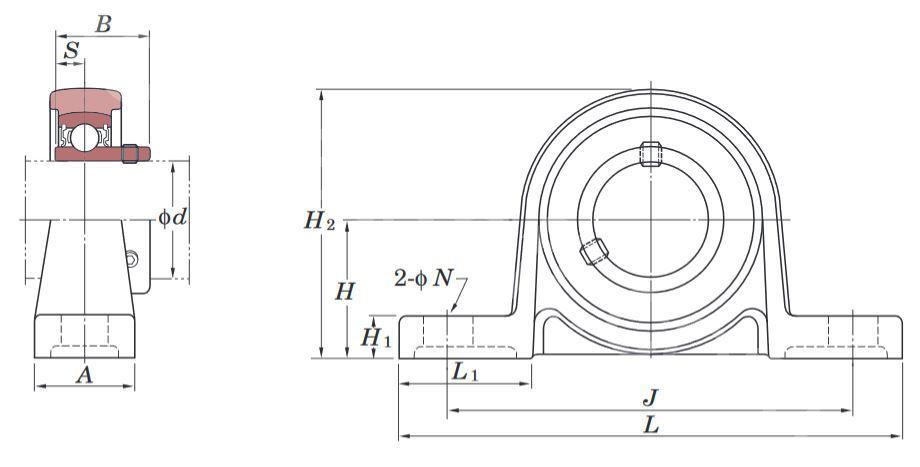 Technische Zeichnung Stehlagereinheiten SILBERSERIE UP 002