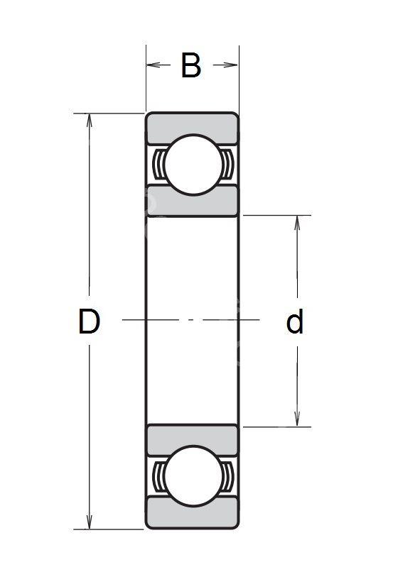 Technische Zeichnung Rillenkugellager 6800 C3