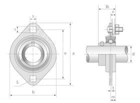 Technische Zeichnung Flanschlagereinheiten ASPFL 201