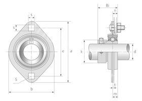 Technische Zeichnung Flanschlagereinheiten AELPFL 201